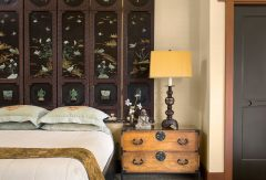 Bedroom with Oriental Wall Headboard