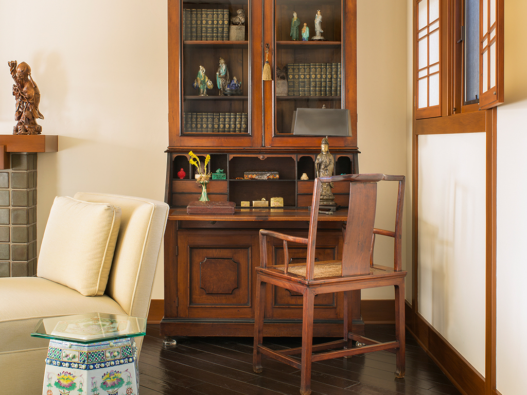 Writing Desk with Cabinet and Chairs